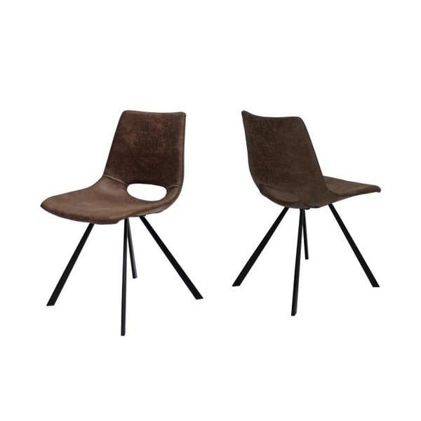 Jasnobrązowe krzesło z czarnymi nogami Canett Coronas