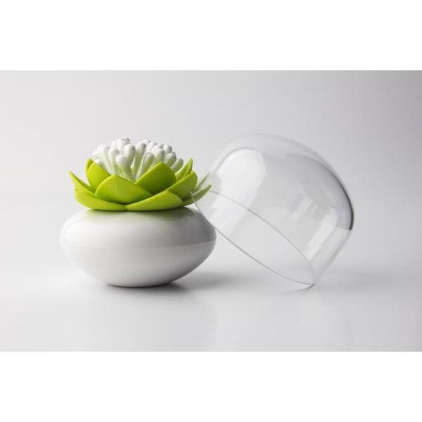Pojemnik na patyczki do uszu QUALY Lotus, biały/zielony