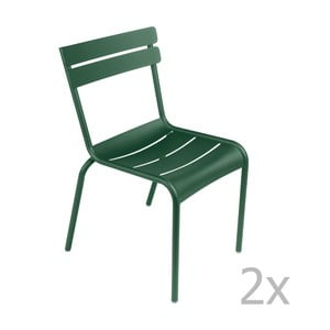 Zestaw 2 zielonych krzeseł Fermob Luxembourg