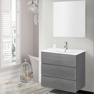 Szafka do łazienki z umywalką i lustrem Nayade, odcień szarości, 70 cm