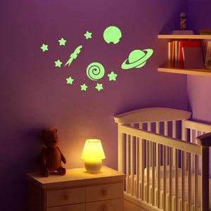 Świecąca w ciemności naklejka Planets and Stars, 55x10 cm