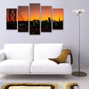 Pięcioczęściowy obraz Miasto o Zachodzie Słońca
