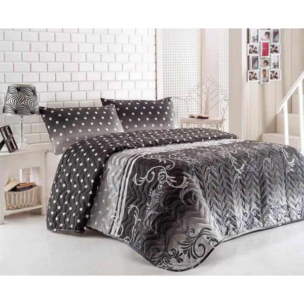 Pikowana narzuta z poszewkami na poduszki Buse Grey, 200x220 cm