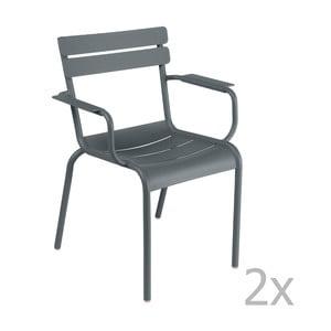 Zestaw 2 ciemnoszarych krzeseł z podłokietnikami Fermob Luxembourg