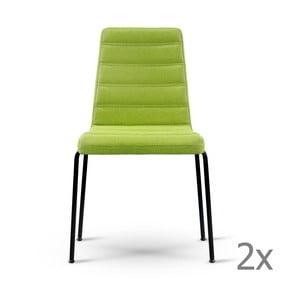 Zestaw 2 zielonych krzeseł z czarnymi nogami Garageeight
