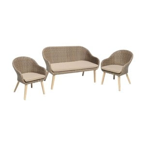 Zestaw 2 foteli ogrodowych i ławki z nogami z drewna akacjowego ADDU Pueblo