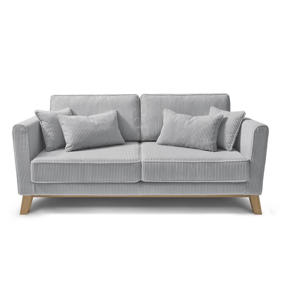 Jasnoszara sztruksowa sofa Bobochic Paris DOBLO