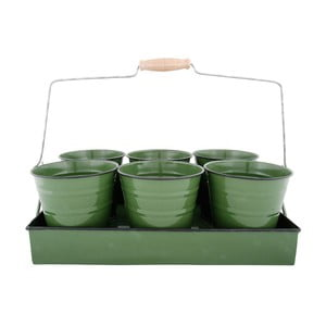 Zielona taca z 6 doniczkami Esschert Design Garden