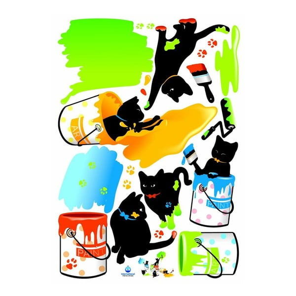 Naklejka Ambiance Cats and paints, 18 cm
