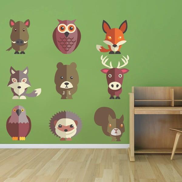 Naklejka na ścianę Zwierzęta leśne, 50x70 cm