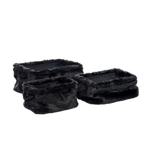 Komplet 3 koszyków J-Line Faux Fur Rectangular