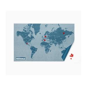 Niebieska ścienna mapa świata Palomar Pin World, 126x68cm