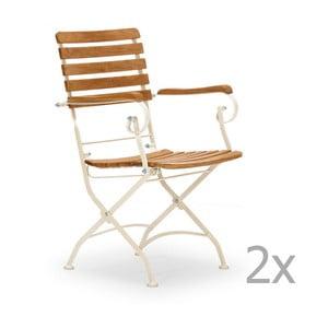 Zestaw 2 białych krzeseł ogrodowych z drewna akacjowego z podłokietnikami SOB