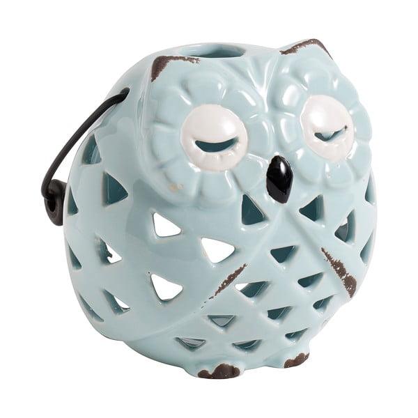Świecznik ceramiczny Owl, błękitny