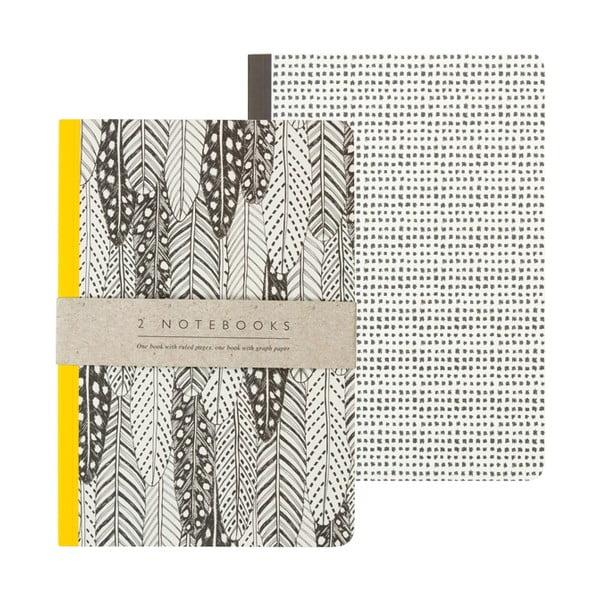 Zestaw 2 notatników A5 Portico Designs Feathers, 50str.