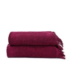 Komplet 2 bordowych ręczników bawełnianych Casa Di Bassi Face, 50x90 cm