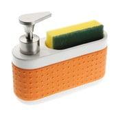 Pomarańczowy dozownik do mydła ze stojakiem na gąbkę Versa Scourer