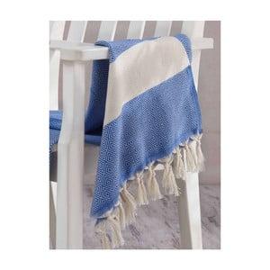 Niebiesko-biały ręcznik Hammam Elmas, 100x180cm