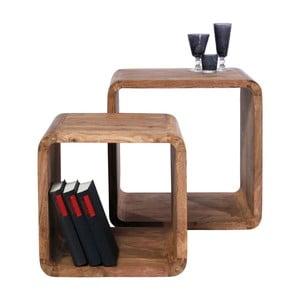 Zestaw 2 półek z drewna sheesham Kare Design Cuben Square