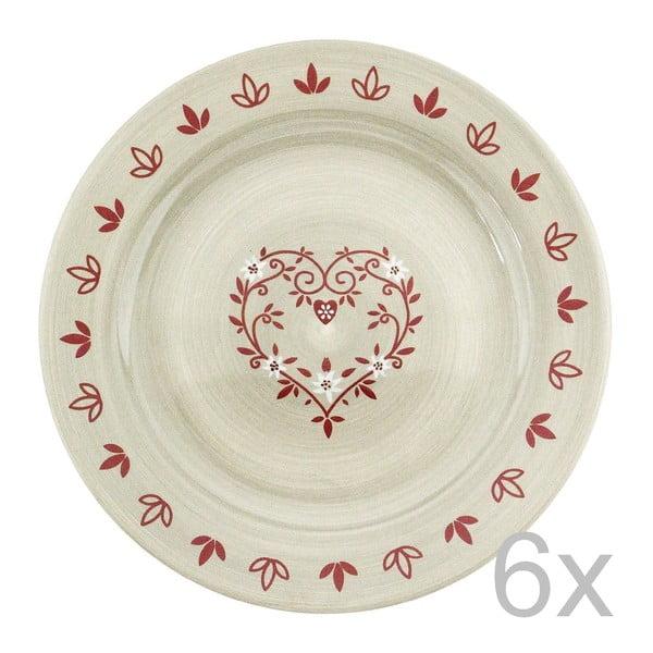 Zestaw 6 talerzy ceramicznych Heart 28 cm