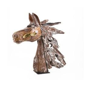 Dekoracyjna głowa konia z drewna tekowego Moycor Erosi