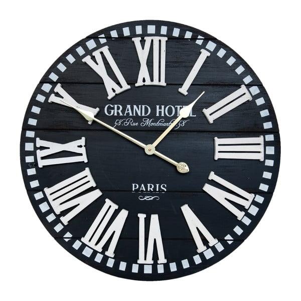 Czarny zegar ścienny Clayre & Eef