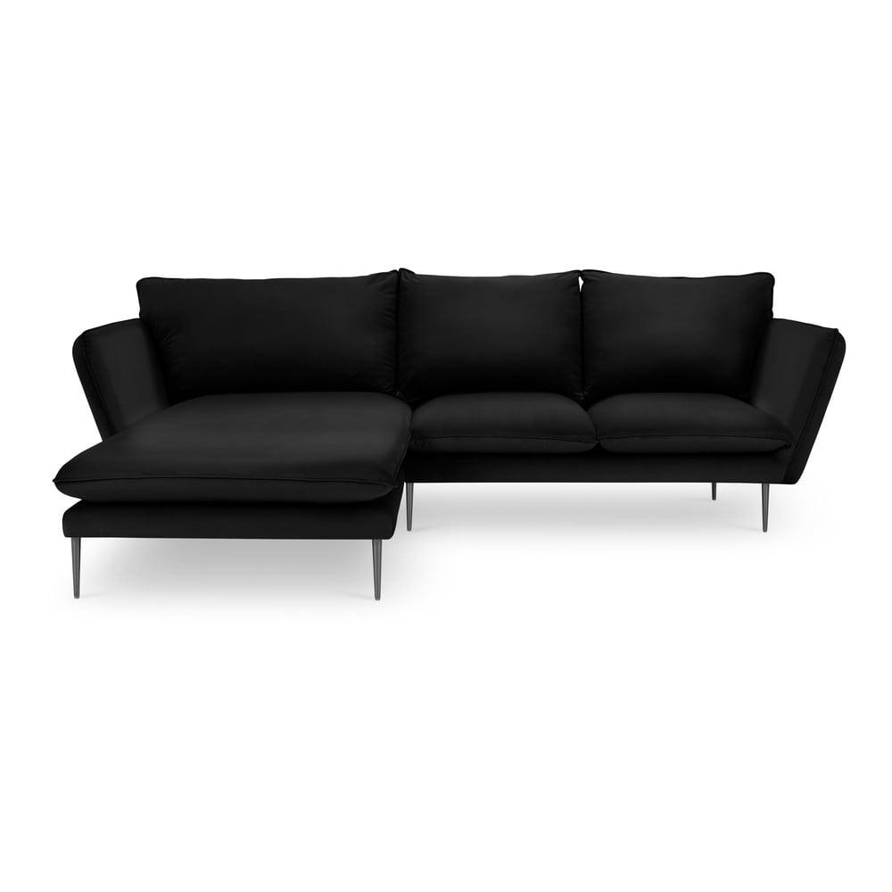 Czarna aksamitna sofa narożna Mazzini Sofas Acacia, lewostronna