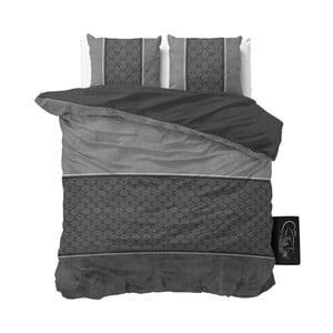 Antracytowa pościel z mikroperkalu Sleeptime Luxury Barock, 200x220 cm