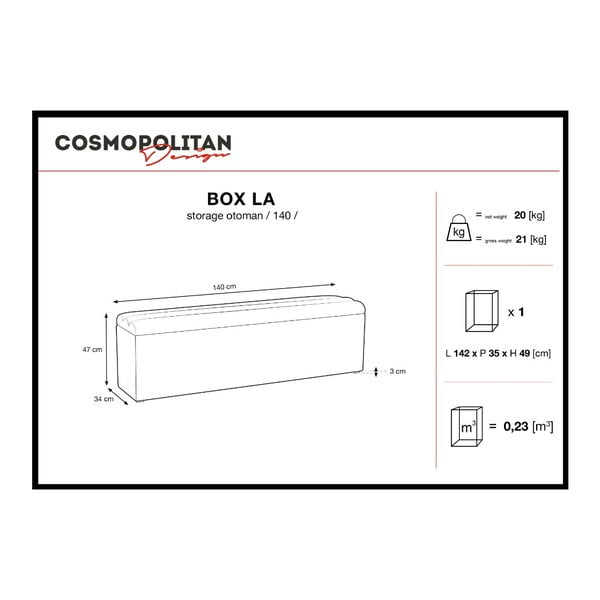 Fioletowa ławka ze schowkiem Cosmopolitan Design Los Angeles, szer. 140 cm