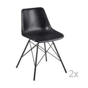 Zestaw 2 czarnych krzeseł skórzanych J-Line Cross