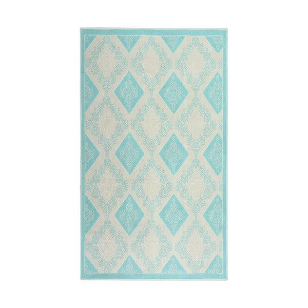Turkusowy dywan bawełniany Floorist Bukle Baklava, 80x300cm