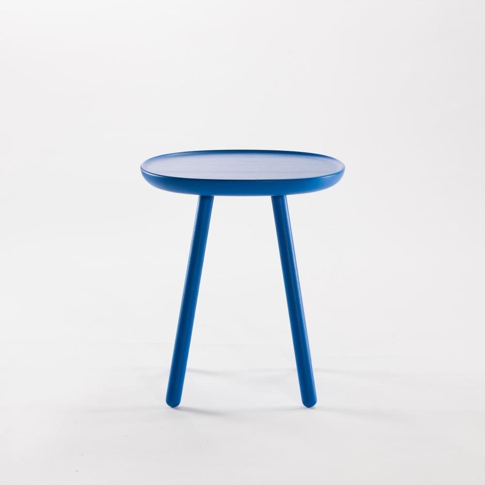 Niebieski stolik z litego drewna EMKO Naïve Small, ø45cm