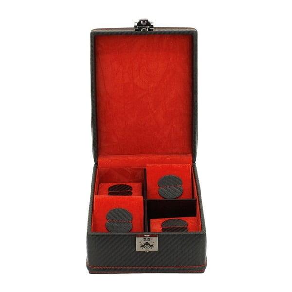 Czarny kuferek na 4 zegarki Carbon