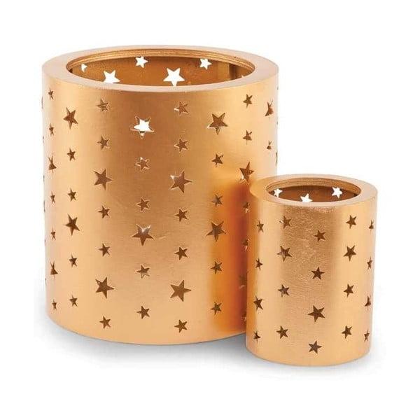Zestaw 2 świeczników Gold Glass