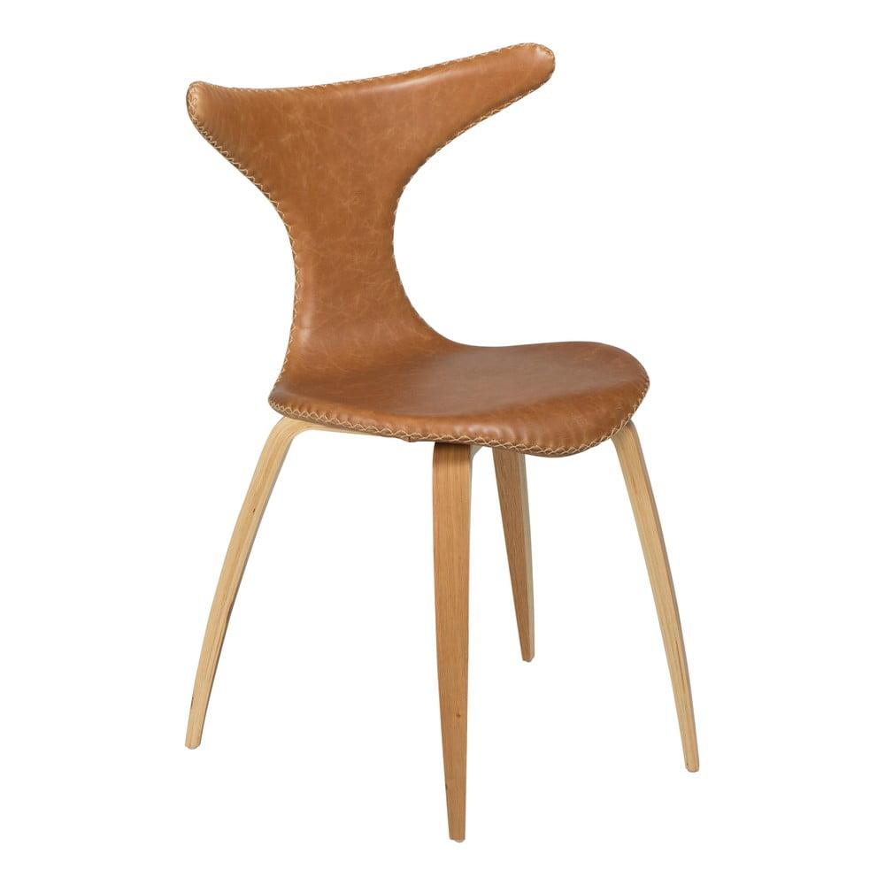 Brązowe krzesło skórzane z drewnianymi nogami DAN–FORM Denmark Dolphin