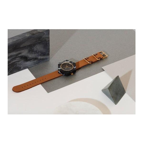 Czarny sześciokątny marmurkowy zegarek z brązowym paskiem Analog Watch Co.