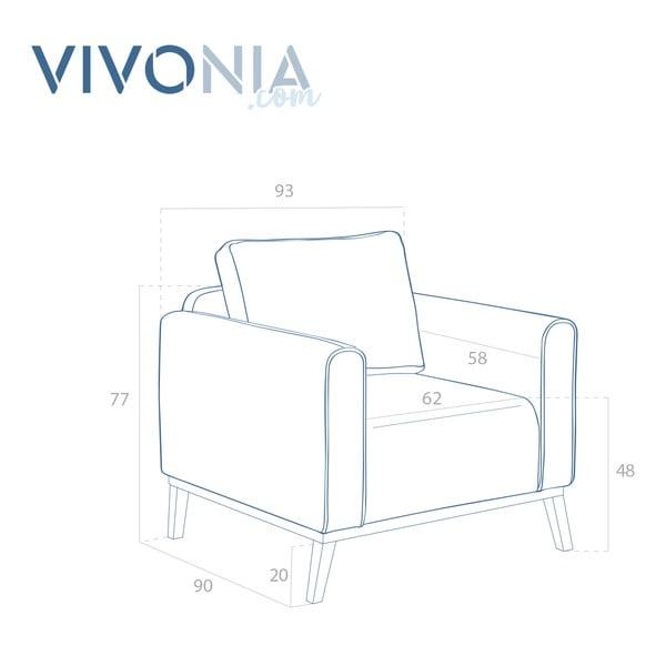 Jasnoszary fotel VIVONITA Milton