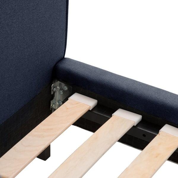 Granatowe łóżko z czarnymi nóżkami Vivonita Kent, 140x200 cm