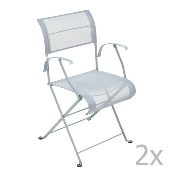 Zestaw 2 jasnoszarych krzeseł składanych z podłokietnikami Fermob Dune