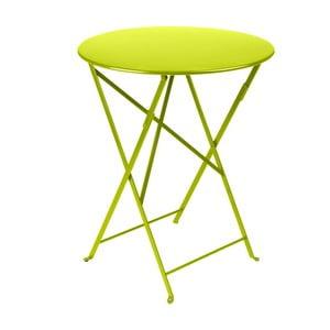 Limonkowy składany stół metalowy Fermob Bistro