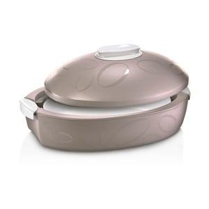 Brązowy owalny pojemnik termoaktywny z naczyniem do zapiekania Enjoy Gourmet, 3 l