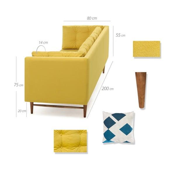 Żółta sofa 3-osobowa Balcab Home Eva
