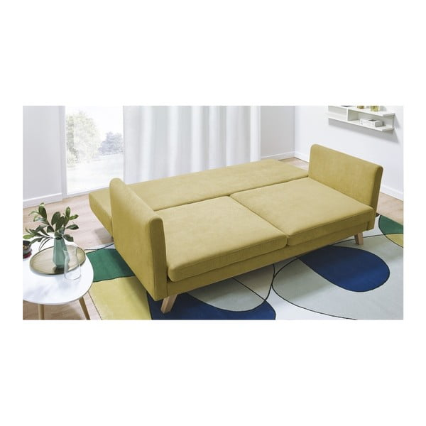 Żółta rozkładana sofa 3-osobowa Bobochic Paris Triplo