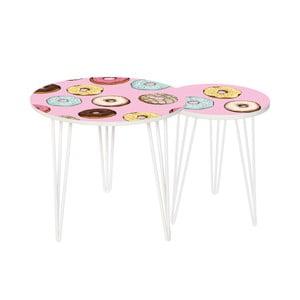 Zestaw 2 stolików Tasty Donuts, 35 cm + 49 cm