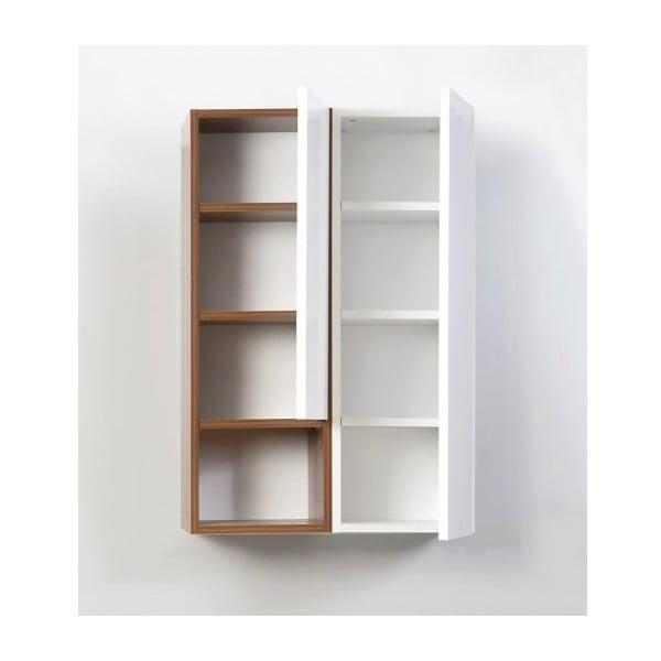 Półka wisząca Grand, biała/orzechowa