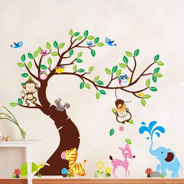 Zestaw naklejek Ambiance Tree, Monkeys and Elephant