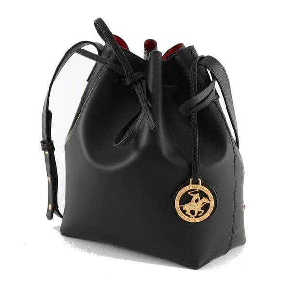 Czarna   torebka ze skóry ekologicznej Beverly Hills Polo Club Valeria