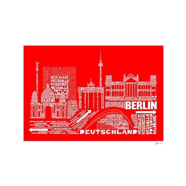 Plakat Berlin Red&White, 50x70 cm