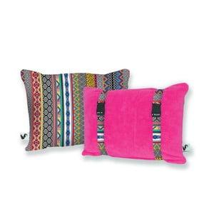 Różowa dwustronna poduszka plażowa Origama Inka