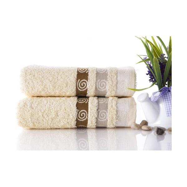 Zestaw 2 ręczników Truva Cream, 50x90 cm